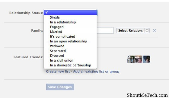 ending relationship status on facebook