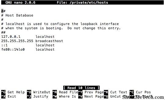 Nano hosts file terminal editor