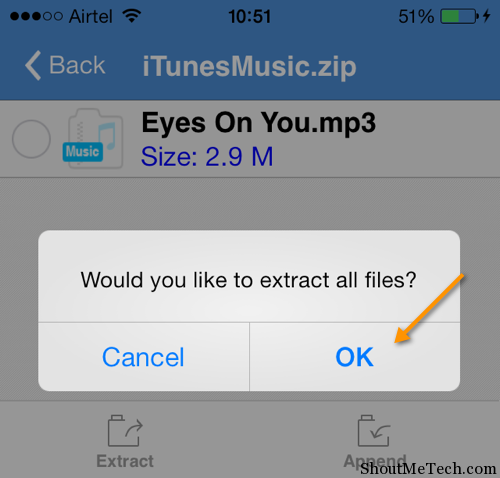 Extract music file