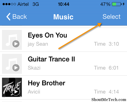 Select music file to send