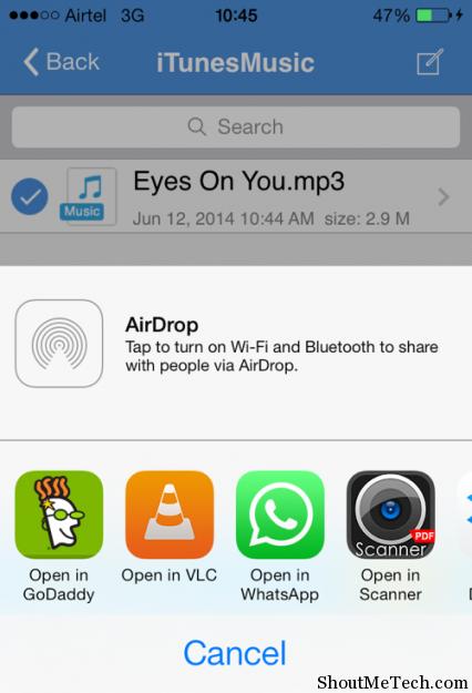 Send music file via Whatsapp