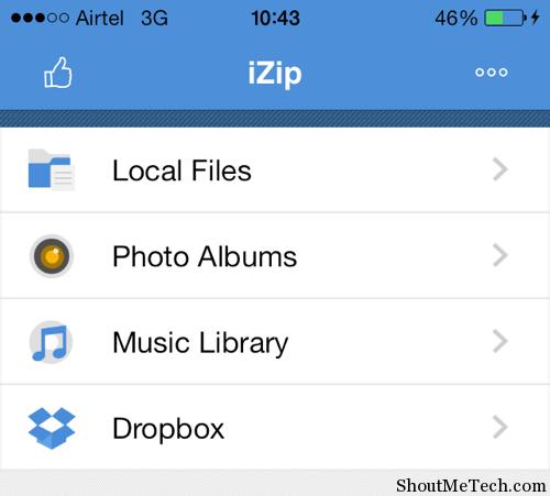 iZip home screen