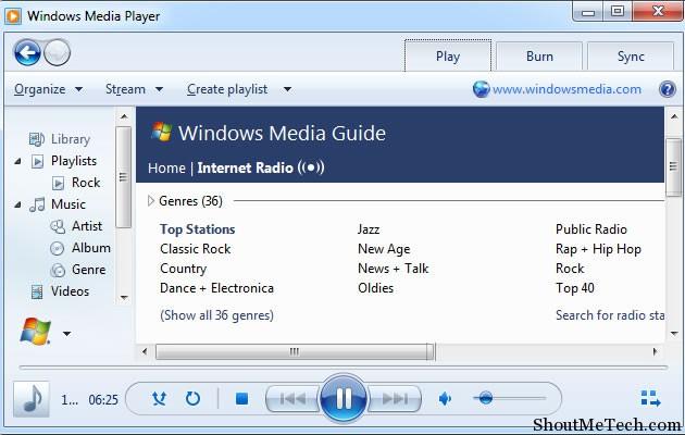 Window Media Player Internet Radio