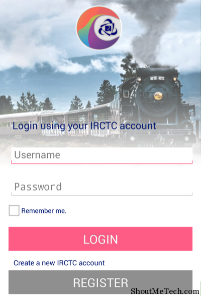 IRCTC Connect Login Page