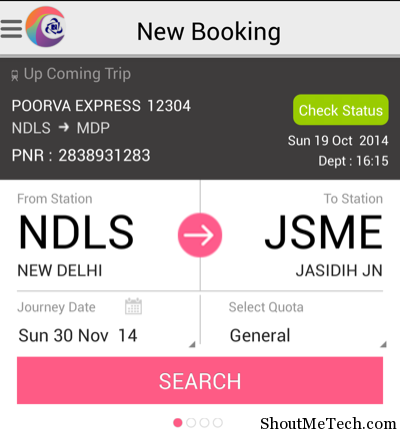 Train new booking