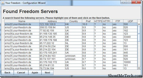 Select yourfreedom servers