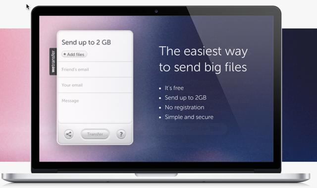 wetransfers send single large file