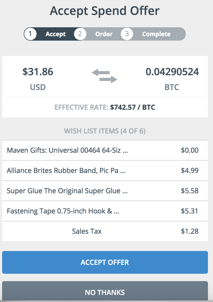 Accept Bitcoin offer