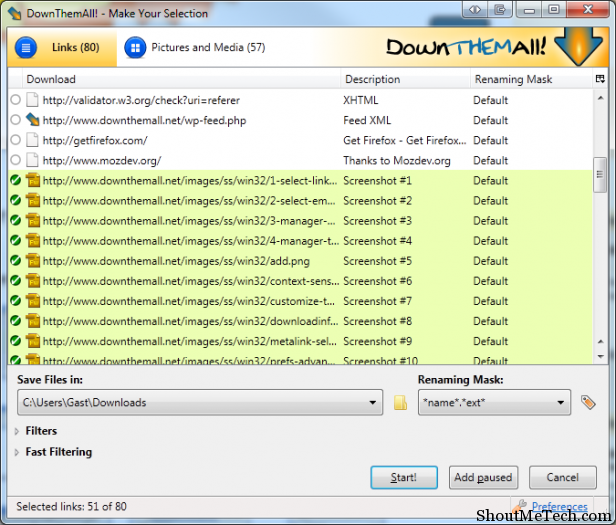DownThemAll Firefox Addon