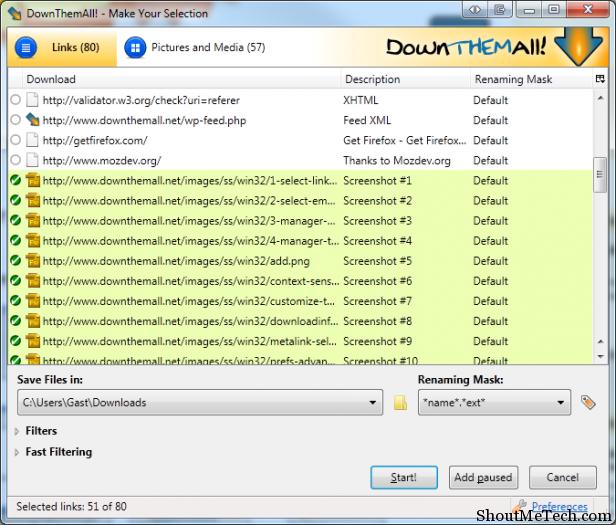 DownThemAll Firefox Addon