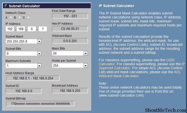 Subnet Calcluator