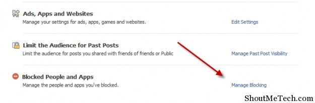 Manage blocking on Facebook