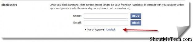 Unblock people on Facebook