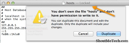 Locked hosts file in Mac
