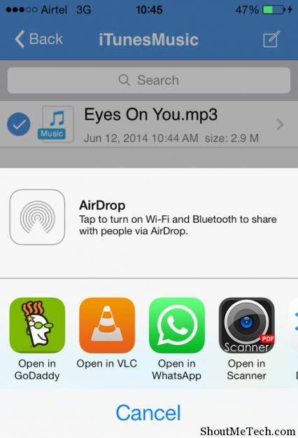 Send music file via Whatsapp