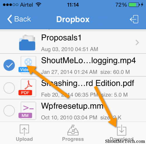 download video from Dropbox