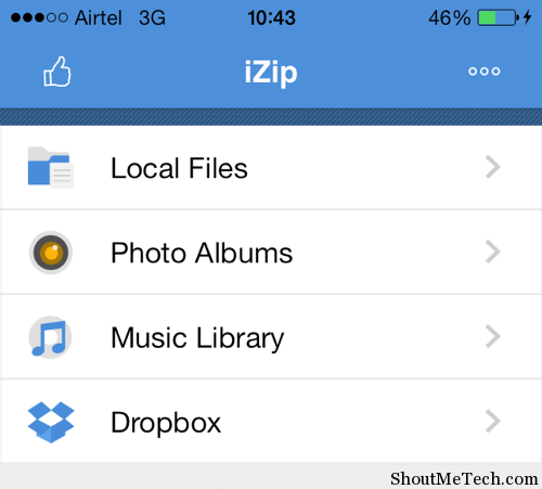 iZip home screen