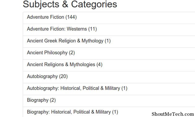 ePubBooks Subjects and Categories