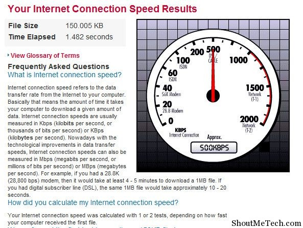Macafee Internet connection speed test
