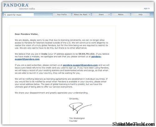Pandora radio banned