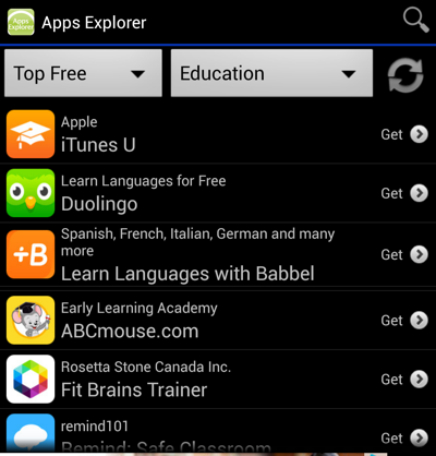 Apps explorer for Android