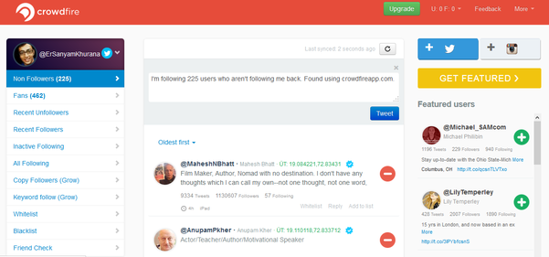 CrowdFire Twitter Tool
