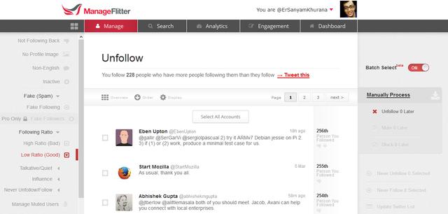 ManageFlitter Twitter Tool