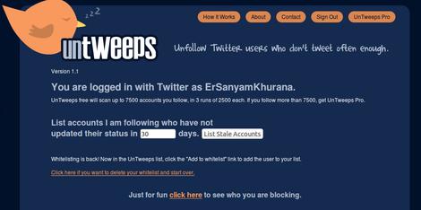 UnTweeps Twitter Tool
