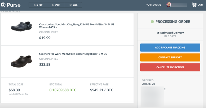 Purse dashboard Bitcoin