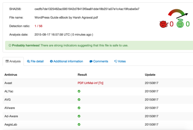 VirusTotal-online-virus-scanner-result
